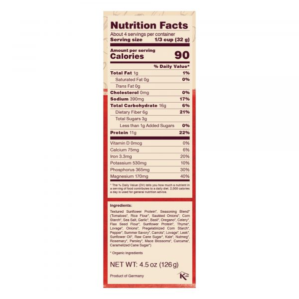 Bolognese Nutrition Facts Panel - 11g protein per serving