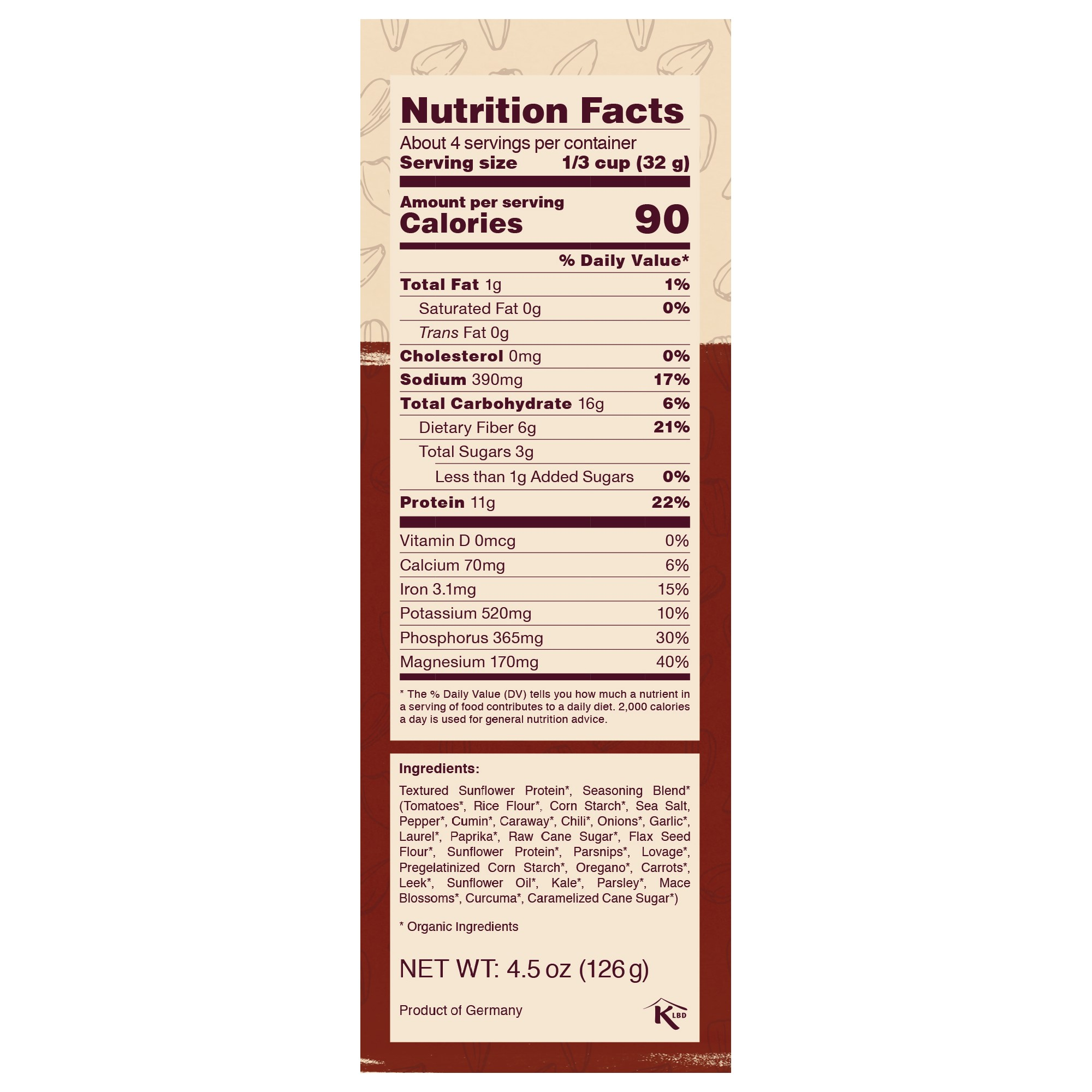 Chili sin Carne nutrition facts panel - 11g protein per serving