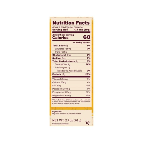 Sunflower Haché Nutrition Facts Panel - 10g protein per serving