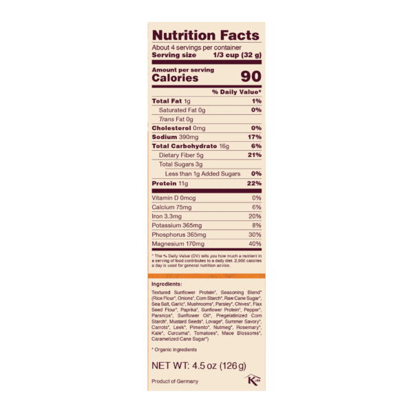 Nutrition Facts Panel for Mushroom Stew - 11g protein per serving