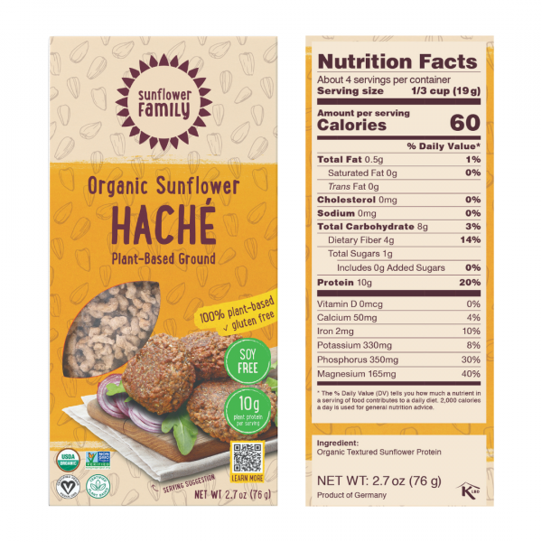 sunflower hache with 10g protein per serving