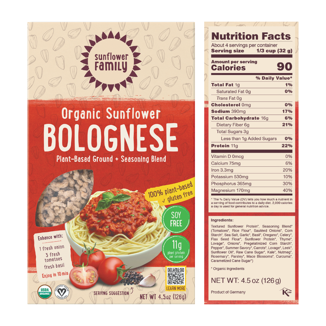 Sunflower bolognese meal kit with 11g protein per serving