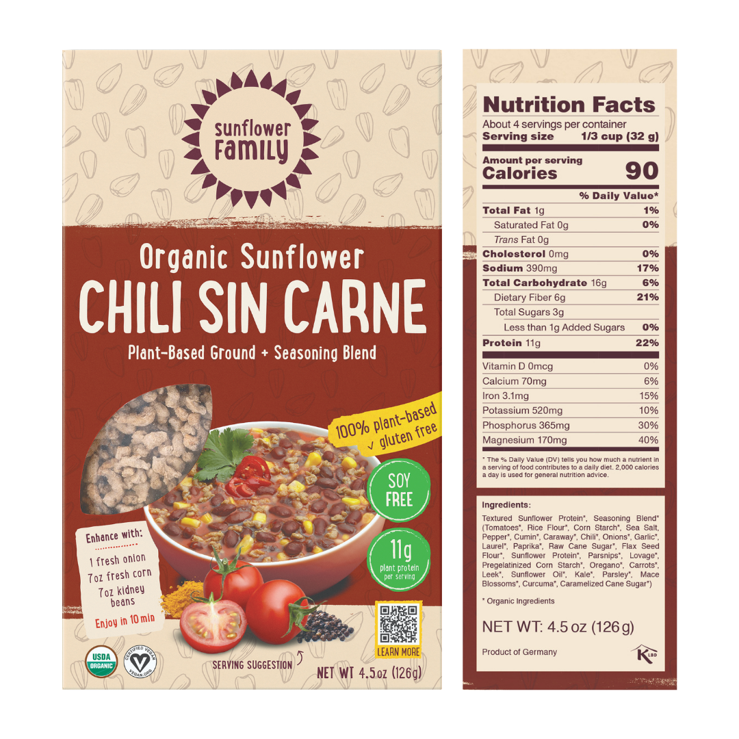Chili sin carne meal kit with 11g protein per serving