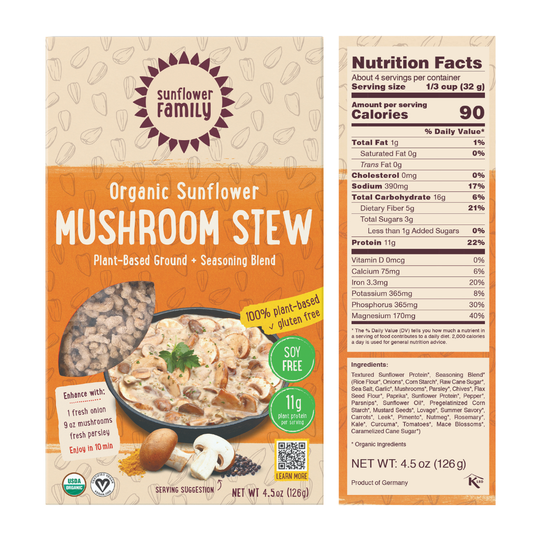 Mushroom Stew meal kit with 11g protein per serving