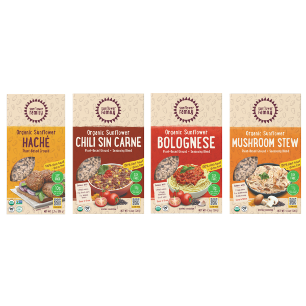 Sunflowerfamily variety pack- haché, chili sin carne, bolognese, and mushroom stew