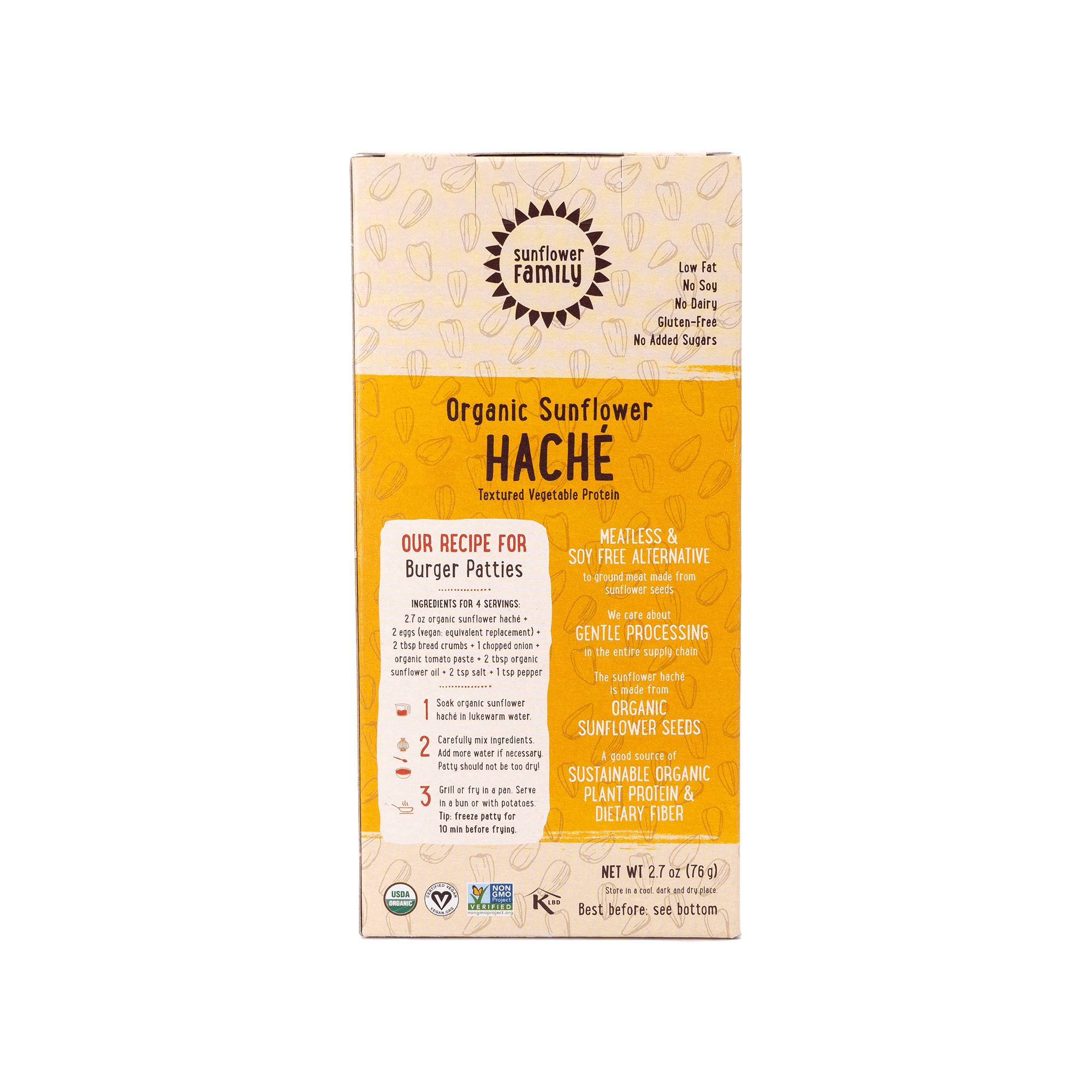 SunflowerFamily Organic Meat Substitute Sunflower Haché back of packaging