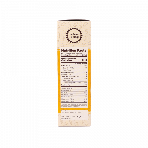 SunflowerFamily Organic Sunflower Hache Nutrition Facts - Plant Based Meat Substitute