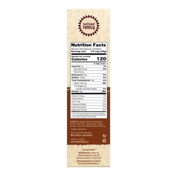 Nutrition Facts Label for Organic Sunflower Protein Cacao Crisps. 1 serving is 120 calories and 13g plant protein.