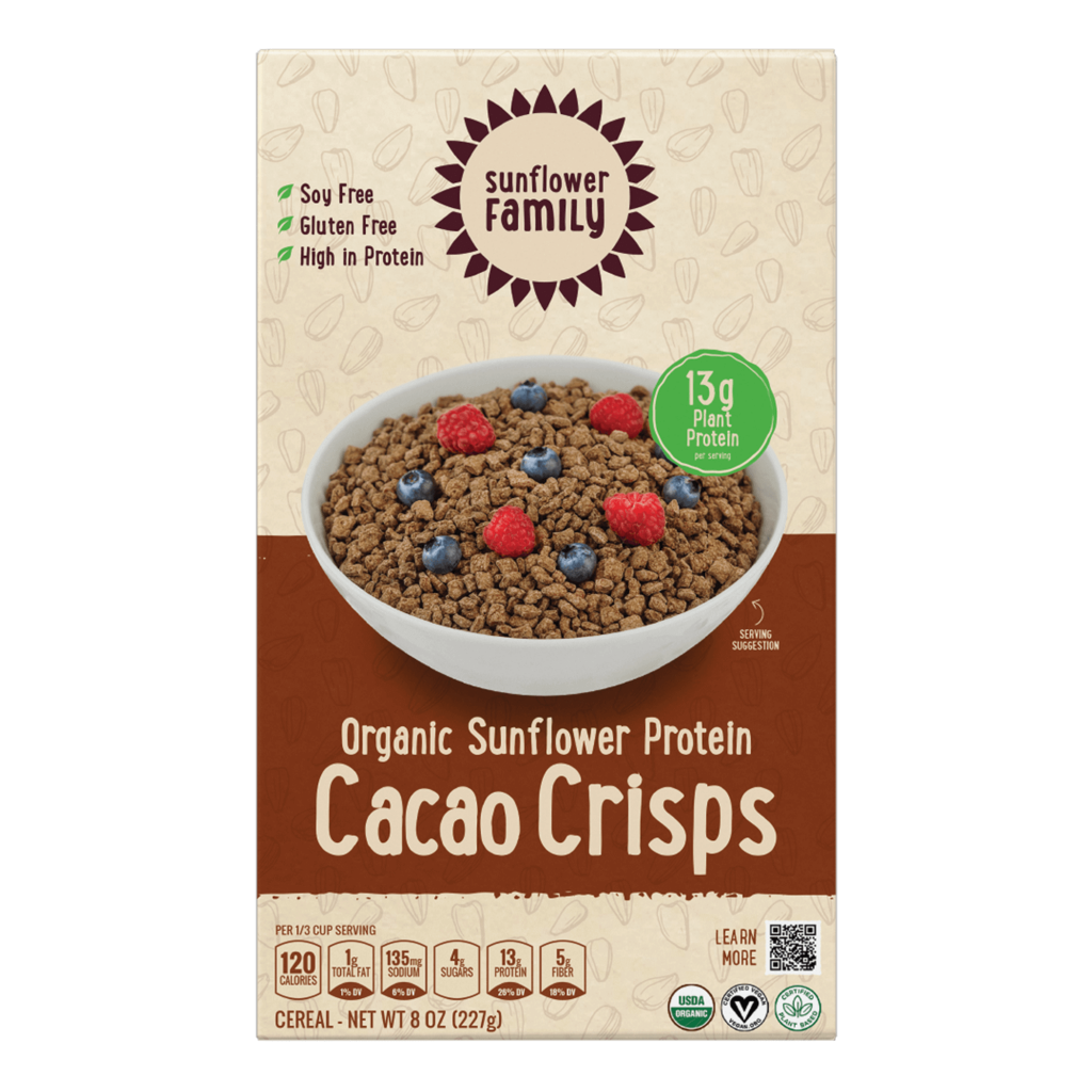 Organic Sunflower Protein Cacao Crisps front of pack