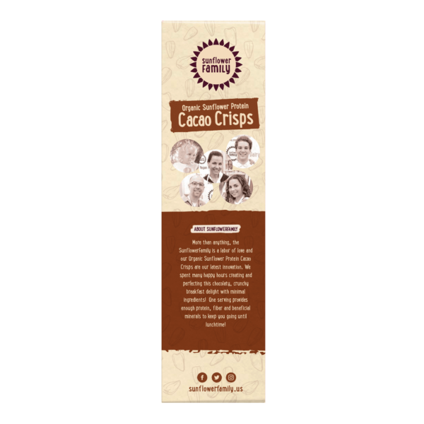 Organic Sunflower Protein Cacao Crisps side of pack