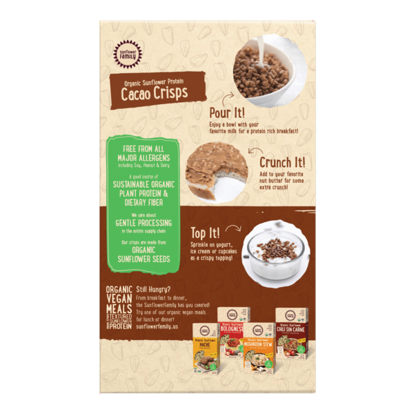 Organic Sunflower Protein Cacao Crisps back of pack