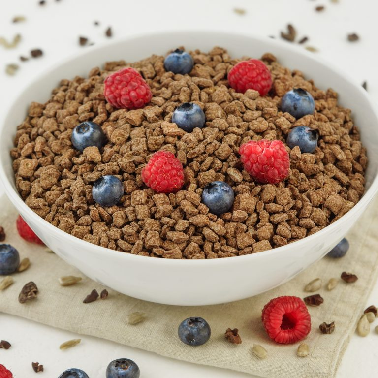 Organic chocolate high protein cereal in a white bowl topped with raspberries and blueberries.