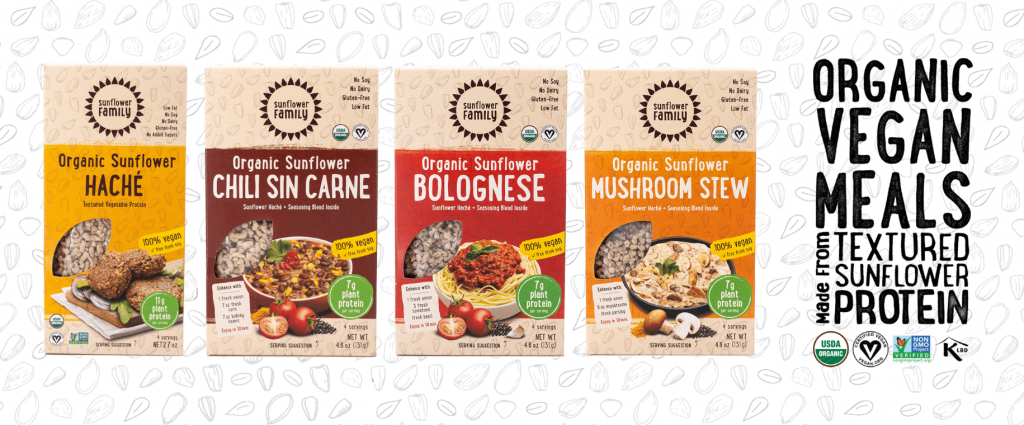 SunflowerFamily group of hache products banner. Organic vegan meals made from textured sunflower protein.