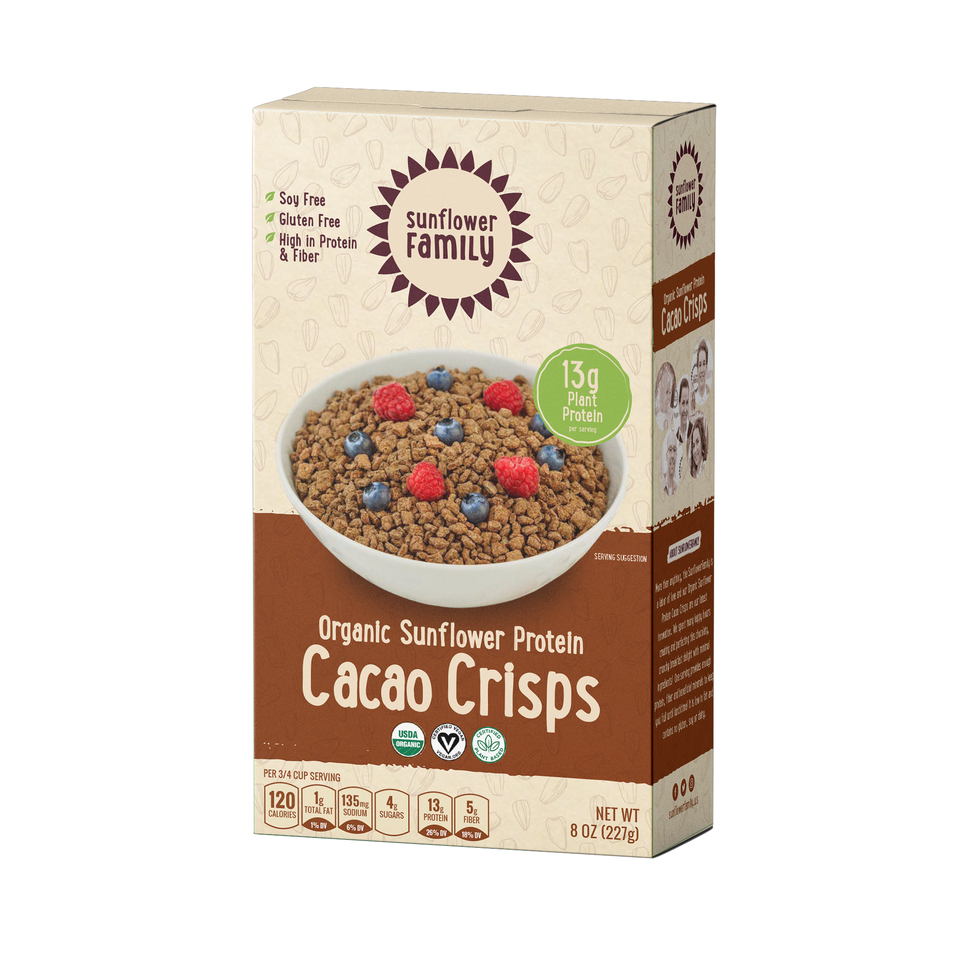 Front of pack for Organic Sunflower Protein Cacao Crisps. Organic chocolate high protein cereal.