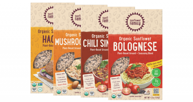 SunflowerFamily meal kits including haché, chili sin carne, bolognese, and mushroom stew.