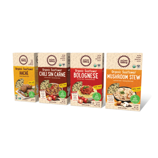 SunflowerFamily variety pack of products- haché, chili sin carne, Bolognese, and mushroom stew.